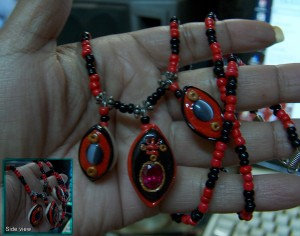 Legba Ruby and Cowrie Shell Necklace