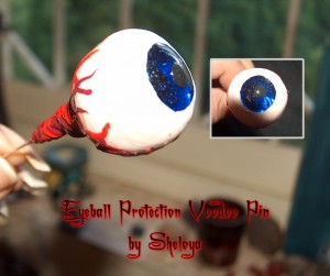 Evil Eye Protection Pin with glass cabochon iris